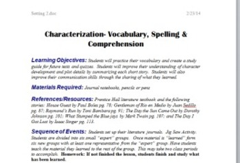 Characterization in Literature Circles: Selected Short Stories