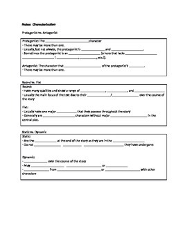 Characterization notes (cloze activity for PPT)