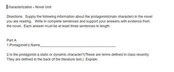 Characterization of Protagonist