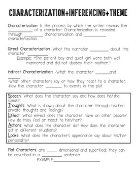 Characterization, theme, and inference fill-in the blank notes