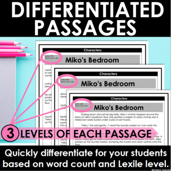 Characters Differentiated Reading Passages and Questions | Reading Comprehension