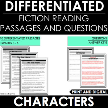 Characters Differentiated Reading Passages and Questions | Character Traits