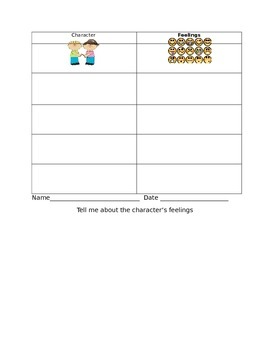 Character's Feelings Graphic Organizer