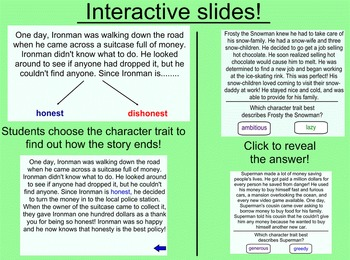 Character's Feelings, Traits, and Motivations Smartboard Lessons and Activities