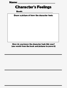 Character's Feelings in Book Worksheet