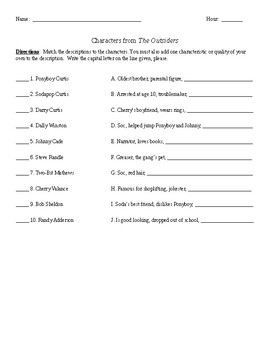 Characters Formative Assessment for The Outsiders