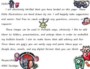 Characters, Monsters, Clipart, Images, Water color, hand-drawn
