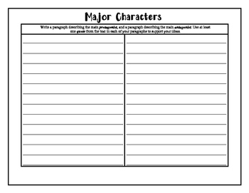 Characters (Protagonist and Antagonist) Foldable