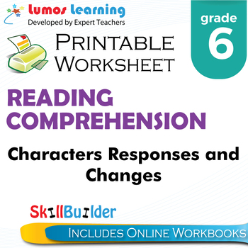 Characters Responses and Changes Printable Worksheet, Grade 6