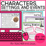 Characters, Settings, and Events Print and Digital Distance Learning