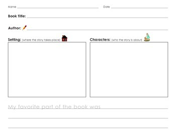 Characters and Setting Book Graphic Organizer