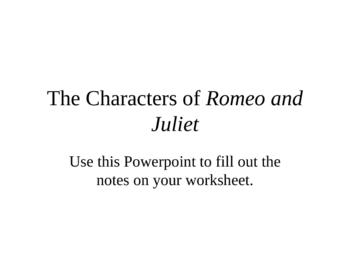 Characters of Shakespeare's Romeo and Juliet PowerPoint