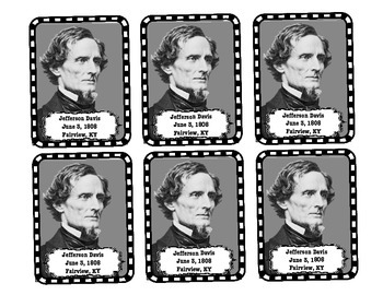 Characters of the Civil War Primary Source Photo Cards