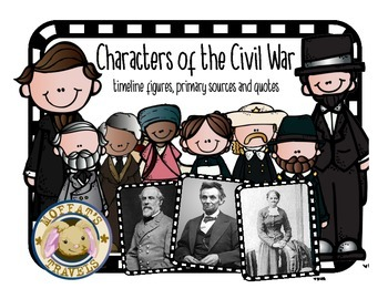 Characters of the Civil War Timeline, Quotes and Primary Source Cards