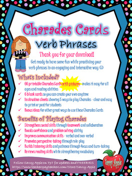 Charades Cards With Pictures - Verb Phrases - Action Verbs - Fun for All Ages!