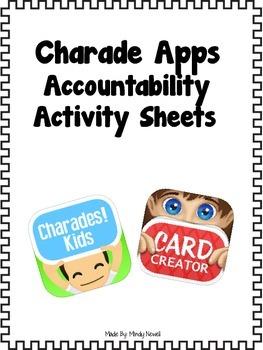 Charades! Kids and Charades Card Creator App Accountability Sheets