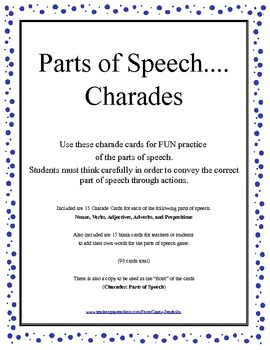 Charades: Parts of Speech... Nouns, Verbs, Adjectives, Adverbs, Prepositions