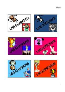 Charades Spanish Vocabulary Game / Airport, Travel, Professions, Weather
