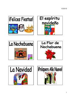 Charades Spanish Vocabulary Game / Animals, Nature, Holidays