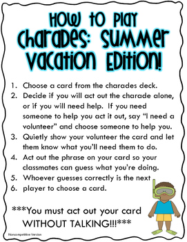 Charades: Summer Vacation Edition!