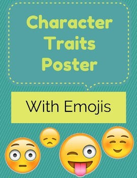 Character Traits Poster (with fun Emoji Border) 5 ft. long! - FREEBIE!