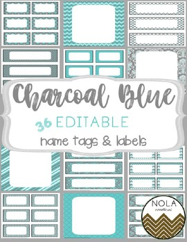 Charcoal Bue EDITABLE Name Tags and Labels