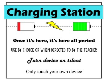Charging and Calculator Station Rule Sign