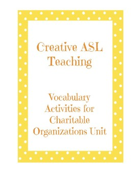Charitable Organizations Vocabulary Practice Packet