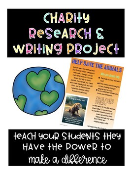 Charity Research And Writing Project Based Learning Unit