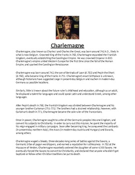 Charlemagne Biography Article and Assignment Worksheet