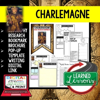 Charlemagne Biography Research, Bookmark Brochure, Pop-Up Writing Google