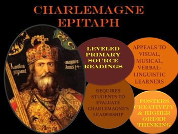 Charlemagne Epitaph Assessment with Primary Source Handouts & CCLS Rubric