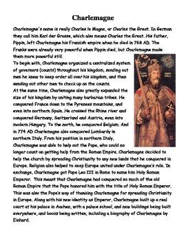 Charlemagne Worksheet