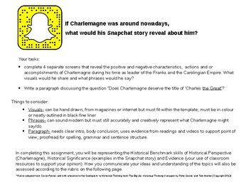 Charlemagne's (Or any Historical Figure) Snapchat Story and Opinion Paragraph