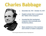 Charles Babbage Computer Science Poster of famous computer scientist STEM