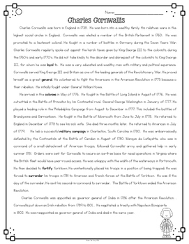 Charles Cornwallis Differentiated Reading Passages for British Generals