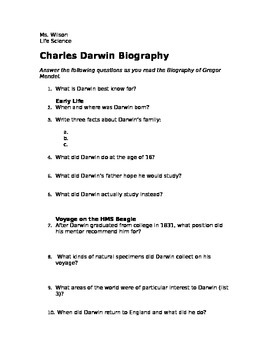 Charles Darwin Biography Analysis questions and Summary- Natural Selection
