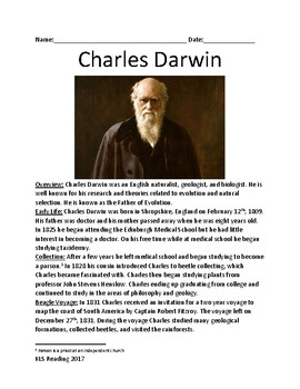 Charles Darwin - Father of Evolution Life Story Facts Info Lesson Questions
