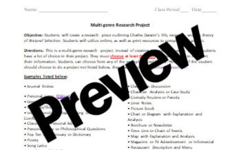 Charles Darwin Research Project (Multi-Genre)