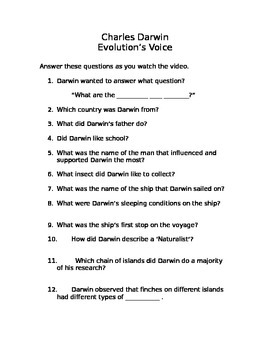 "Charles Darwin & Evolution: Video Questions for Biography: ""Evolution's Voice"""