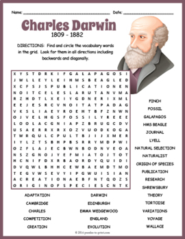 Charles Darwin Word Search Puzzle
