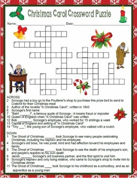 dickens a christmas carol crossword word search quiz essay  charles dickens a christmas carol crossword word search quiz essay activities