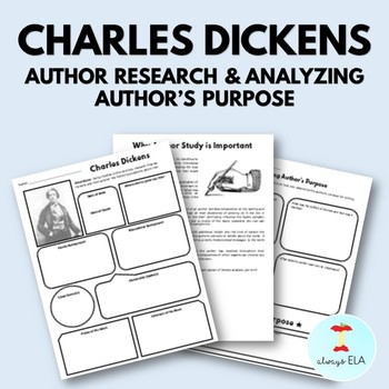 Charles Dickens - Author Study Worksheet, Author's Purpose, Author Research, Bio