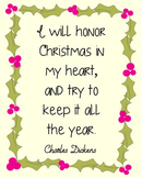 Charles Dickens Christmas Quote Poster, Library Art