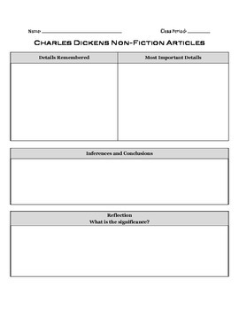 Charles Dickens Non-Fiction Article Analysis