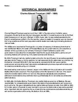 Charles Edward Trevelyan Biography Article and (3) Assignments