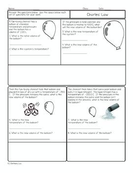 Charles' Law Chemistry Homework Worksheet