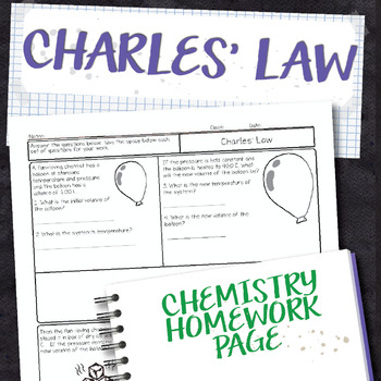 Charles Law Chemistry Homework Worksheet By Science With Mrs Lau