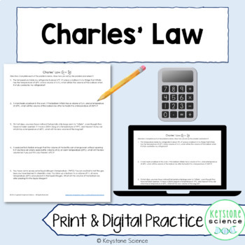 Charles' Law Problems with Answer Key Chemistry Gas Laws