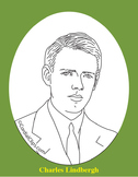 Charles Lindbergh 2 Realistic Clip Art, Coloring Page, and Poster